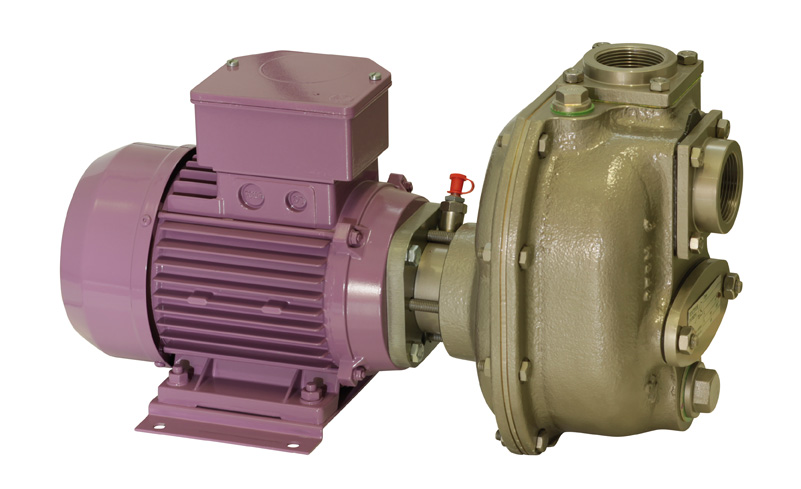 Self-priming centrifugal pump with mechanical seal and rigid coupling