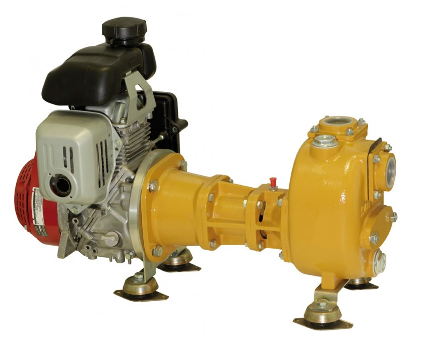 Self-priming centrifugal pump with gasoline engine drive