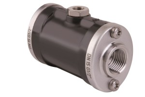 VMC sleeve valve in black POM and threaded connections in stainless steel