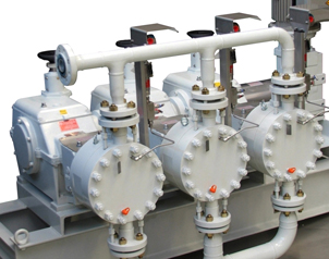 DOXE process pumps with double membrane and triple head